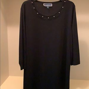 Black Tee with silver bead neck